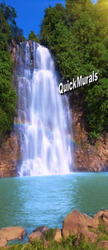 rainbow-waterfall-peel-stick-canvas-re-usable-wall-or-door-mural-3-feet-wide-x-7-feet-high