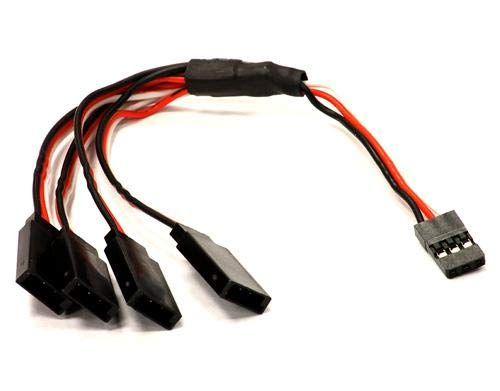Integy RC Model Hop-ups C24104 V2 Length 230mm Y-Type 1-to-4 Wire Harness for RX Plug ()