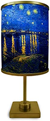 Starry Night Over The Rhone By Vincent Van Gogh Table Lamp Museum Quality Art Print Illuminated On Shade Amazon Com