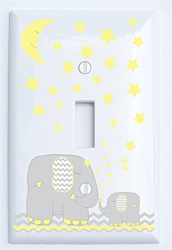 Yellow Elephant Light Switch Plate Cover Single Toggle with