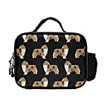 NiYoung Reusable Rough Collie Dog PU Leather Portable Lunch Bag Insulated Lunch Tote Bags Box Boxes for Adults Men Women Kids Boys Girls 6