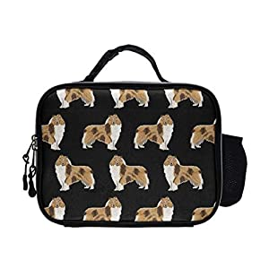 NiYoung Reusable Rough Collie Dog PU Leather Portable Lunch Bag Insulated Lunch Tote Bags Box Boxes for Adults Men Women Kids Boys Girls 14