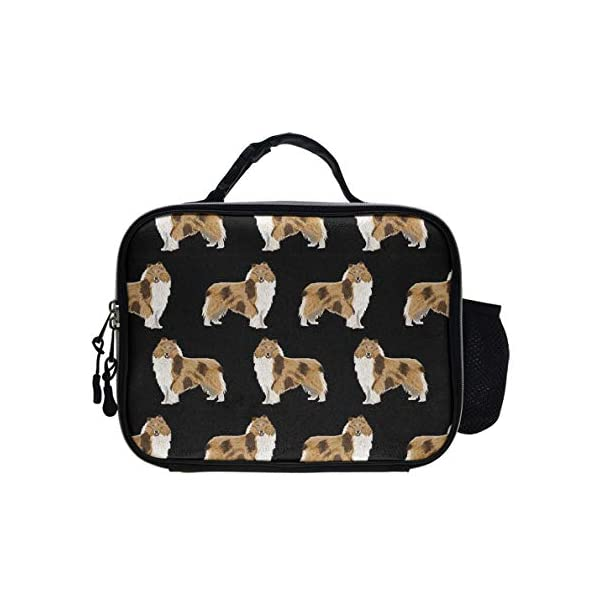 NiYoung Reusable Rough Collie Dog PU Leather Portable Lunch Bag Insulated Lunch Tote Bags Box Boxes for Adults Men Women Kids Boys Girls 1