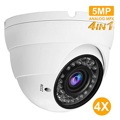Anpviz Analog Dome Camera 4-in-1 5MP TVI/ 5MP AHD/ 4MP CVI/ 960H CVBS Security Dome CCTV Camera, 2.8mm-12mm Manual Focus Lens, True Day & Night Monitoring IP66