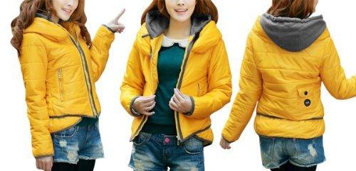 Allegra Up K Ladies Convertible Hooded Zip Collar Up Allegra Abrigo Acolchado Amarillo XS c5cdbd