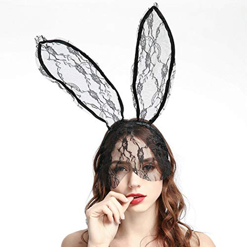 Catery Sexy Lace Bunny Ears Veil Headbands Black Cat Ear Headband Women Halloween Hair Accessories for Nightclubs & Masquerade & Halloween & Christmas ()