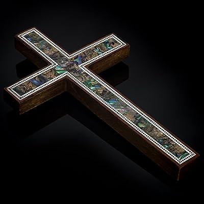 4.7-12cm Leolana handmade Wall Cross inlaid with Mother of Pearl /& Paua Shell