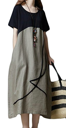 Domple Women's Linen Crewneck Long Color Contrast Stylish Pockets Coffee Dress Loose rrwUqH