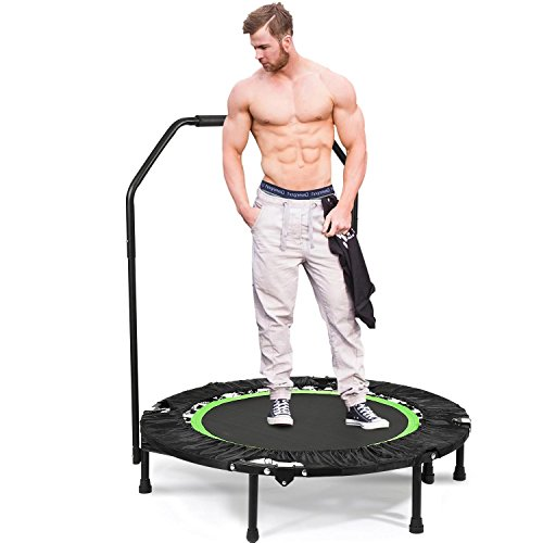 Folding Mini Trampoline with Handle Bar Fitness Rebounder Trampoline Cardio Workout Training for Kids or Adults Zero Stretch Jump Mat Review