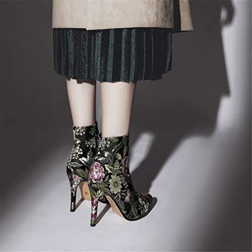 YAN Zapatos de Moda para Mujer Otoño Invierno Vintage Zapatos para Mujer Flor de Bordado de satén Botines de tacón Alto: Amazon.es: Deportes y aire libre