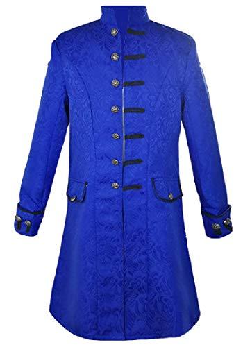 Winwinus Men's Utility Mid Long Renaissance Embroidered Trench Coat Blue XL