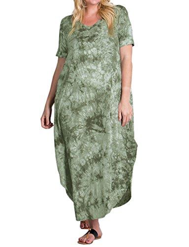 Women's Plus Size Maxi Dresses Short Sleeve Casual Summer Plain Tie Dye Split Long Dress with Pockets Green
