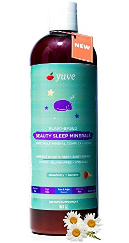 Herbal Liquid Vitamins - Yuve Liquid Natural Sleep Aid Multimineral - Complete Mineral Herbal Complex (Valerian Root, Magnesium, Calcium) - Non-Habit Forming Vegan Vitamins for Sleeping - Non-GMO, Melatonin & Sugar Free 16oz