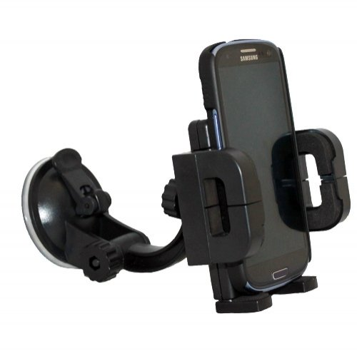 Xenda 360 degree Rotatable Universal Car Mount Windshield Cell Phone Holder Stand for Verizon HTC 7 Trophy - HTC Droid DNA - HTC DROID Incredible 4G LTE - HTC Droid - Case Silicone Trophy Htc