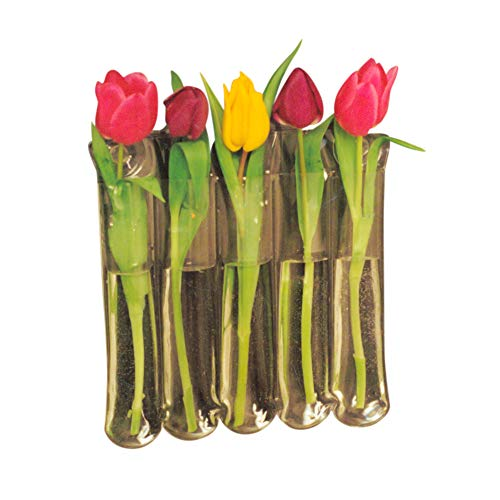 Gadjit Vinyl Window Vase 5 Blossom - Flexible, Unbreakable Vinyl Plastic vases That Attach to Any Window, Mirror, or Non-Porous Surface with Suction Cups, Holds 5 Flower or Bamboo Stems
