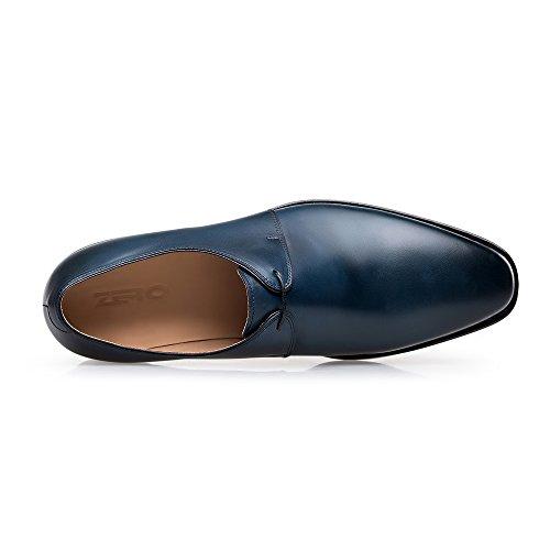 Zro Mens Y8999 Scarpe Da Lavoro In Vera Pelle Blu