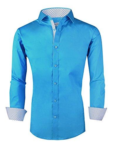 Joey CV Mens Casual Button Down Shirts Long Sleeve Regular Fit Men ()