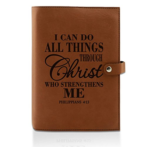 Kate Posh- I can do All Things Through Christ who Strengthens me Philippians 4:13 - Engraved Rawhide Leather Bible Cover, Book & Planner Cover, Christian & Catholic Gifts (6
