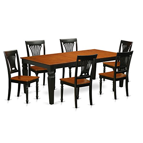 East West Furniture LGPL7-BCH-W 7 PC Kitchen Table Set with One Logan Dining Table & 6 Kitchen Chairs in black & Cherry Finish