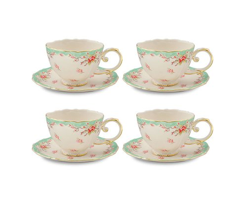 Gracie China by Coastline Imports FD157G-4 Gracie China Vintage Green Rose Porcelain 7-Ounce Tea Cup and Saucer Set of 4, 7 oz,