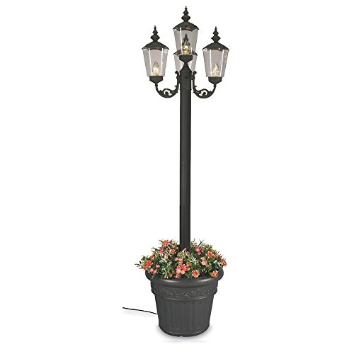 Cambridge Park Style Four Lantern Planter Patio Lamp Black