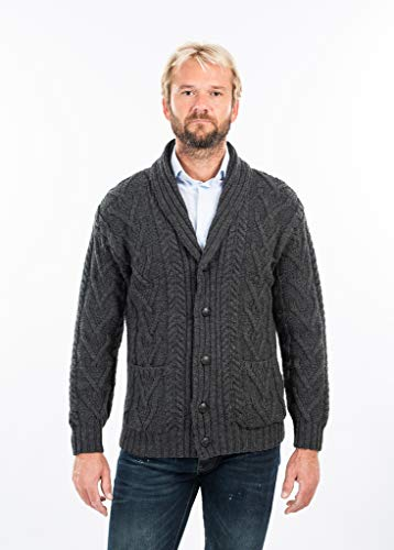 (Mens Aran Cable Shawl-Collar Cardigan (Charcoal, Medium))