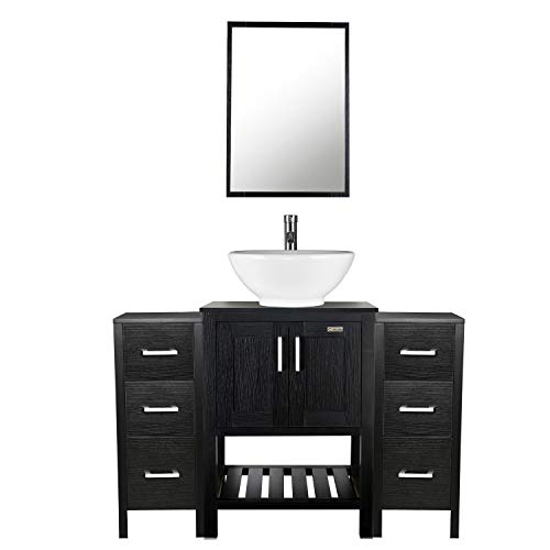 Bathroom Vanity Vessel Sink Combo - Stand Cabinet Storage Side Cabinet Set of 2, 48 inch Organizer Wooden Brush Nickel Hardware Pullout Drawers with Mirror Round Ceramic Bowl Chrome Faucet Drain