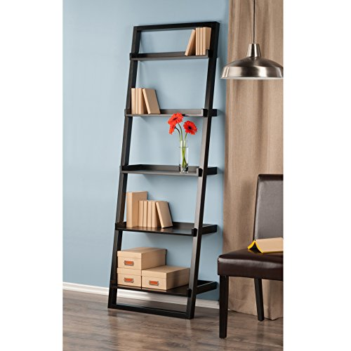 Home Wall Ladder Shelf Bookcase, Black 5 Shelf Solid Beech Wood and Composite Wood With Seek Clean Looks This Ladder Style Shelf Leans Against and Secures to Your Wall Providing Open Shelving by AVA Furniture