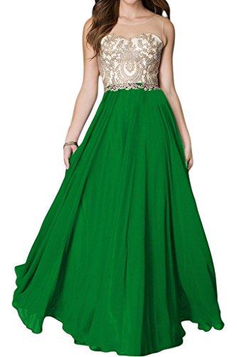 ivyd ressing Mujer de gran calidad Punta applikation redonda cuello largo línea A Prom vestido Fiesta Vestido para vestido de noche Verde