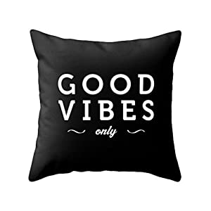 good vibes only black typography throw pillow black and white pillow case - Black Decorative Pillows