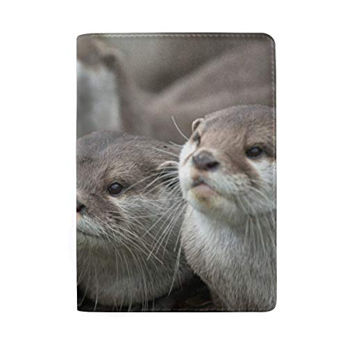 Cute Otter Baby Portable Leather Passport Holder Cover Case for Travel Luggage One Pocket