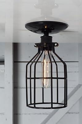 Industrial Lighting - Black Cage Light - Ceiling Mount