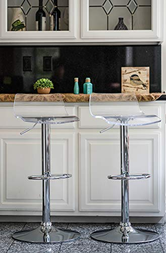 Vogue Furniture Direct Adjustable Arcylic Barstool, Clear -VF1581033 (Set of 2)