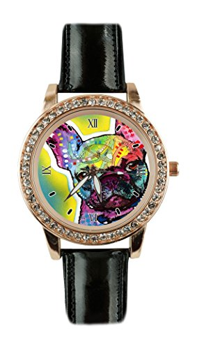 French Bull Dog Custom Design Fashion Glamour Women Black Leather Rose Gold Quartz Crystal Watch Bulldogs Round Crystal