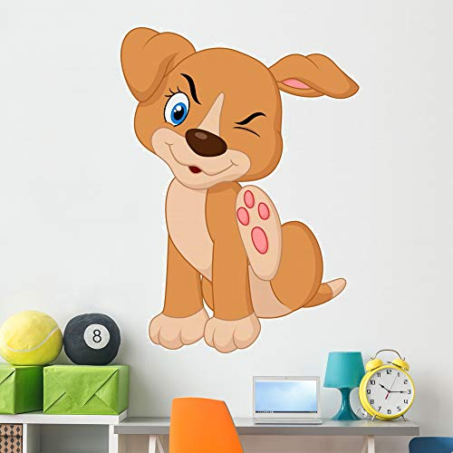 Wallmonkeys Young Pit Bull Puppy Wall Decal Peel and Stick Animal Graphics (60 in H x 44 in W) WM209325