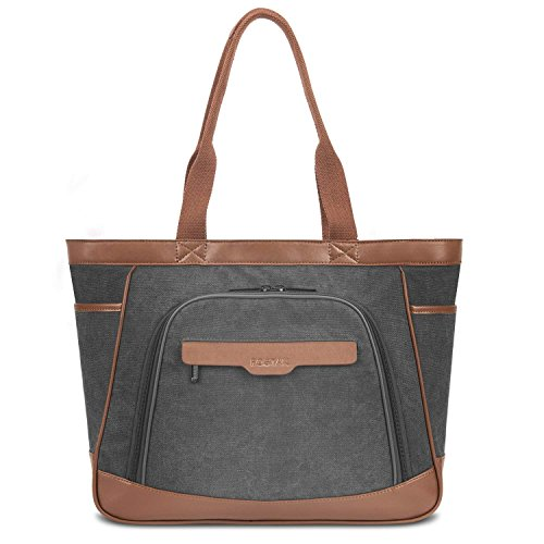 15 for brown Women Large FOSTAK Handbag Laptop Work Handle 6 Grey Top Shopper Tote Tote Ultrabook Pockets Notebook Bag Canvas Shoulder Inch Bag Leather for MacBook Zip Bags Laptop Multi CwtIxqg6