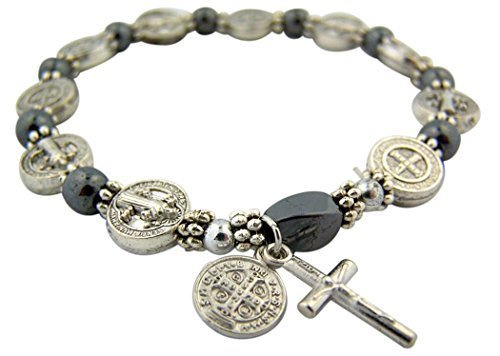 CB Silver Tone Saint Benedict Medal Hematite Bead Rosary Bracelet, 7 1/2 Inch ()