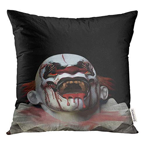 Semtomn Scary Clown Looking Up Crazed Blood Dripping from His Polyester16 X 16 Inch Square Hidden Zipper Decorative Pillowcase ()