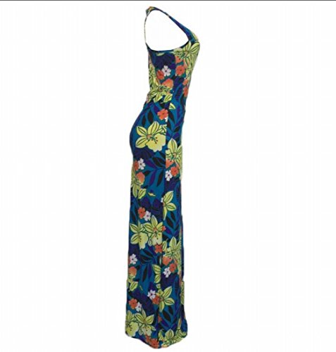 Women Party Sexy Tank Slim Blue Fit Sleeveless Maxi Printed Domple Dress Evening d5qRBa0dn