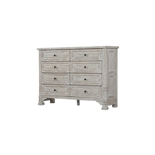 (Emerald Home Taos Wisp White Dresser with Eight Drawers And Burnished Brass Hardware)