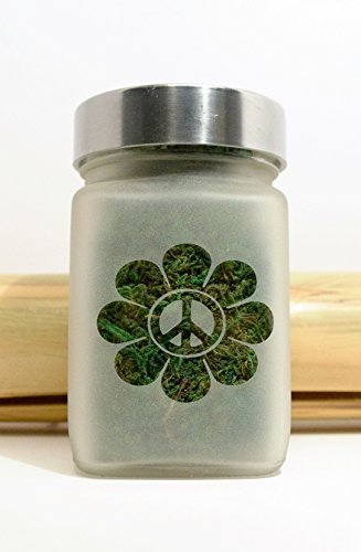 Peace Sign and Daisy Stash Jar, Herb Accessories - Airtight, Smell Resistant Storage