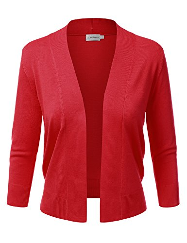 (JJ Perfection Women's Basic 3/4 Sleeve Open Front Cropped Cardigan RED L)
