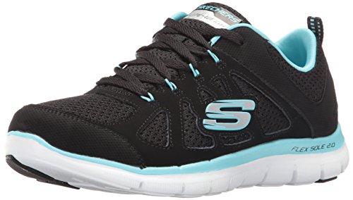 (Skechers Sport Women's Flex Appeal Simplistic Sneaker,black turquiose,8.5 M US)