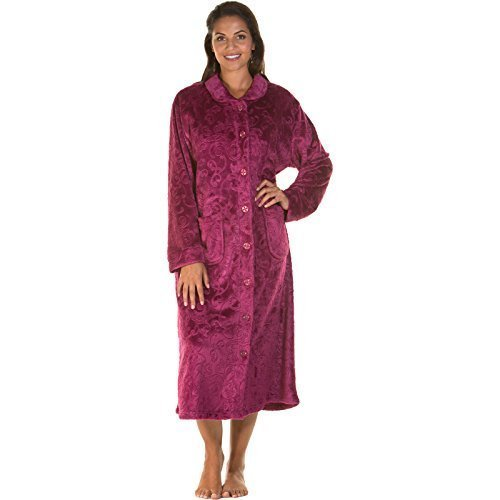 Womens Dressing Gown Ladies Bed Jacket Fleece Embossed Zip Button Robe New  Plus Size  Amazon.co.uk  Clothing e9671bcb7