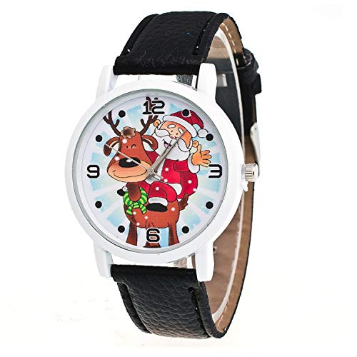 Mydufish New Christmas Ornaments Elderly Pattern Leather Band Analog Quartz Vogue Watche