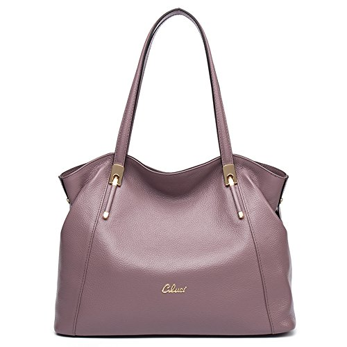 Cluci Leather Handbags Designer Tote Satchel Shoulder Bag Purse for Women Taro Pink