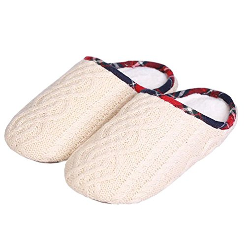 YUTIANHOME Ladies Slippers Womens Washable Non-Slip Flat Closed Toe Indoor Shoes With Knitted Upper beige-style-2