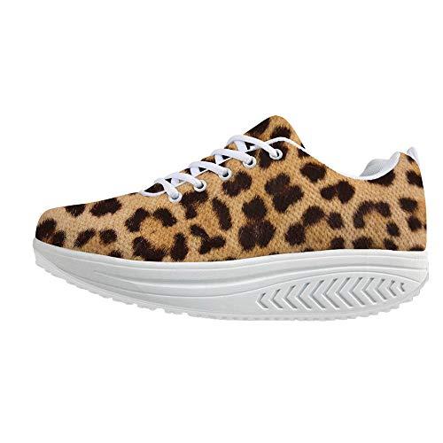 (Bigcardesigns Funky Womens Platform Sneakers Toning Rocker Shoes Brown Leopard Design(Size US 7=EUR 38))