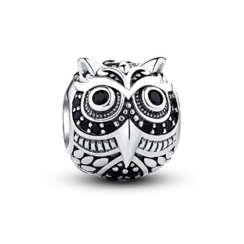 Glamulet Night Owl Charm 925 Sterling Silver Animal Bead for DIY Charms Bracelet