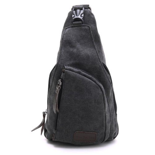 The Pecan Man Black Men Vintage Canvas Messenger Shoulder Bag Chest Bag Backpack